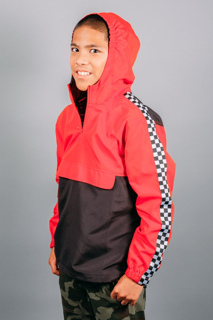 Boys Red Checkered Anorak