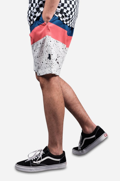 White Chevron Paint Volley Shorts for Men