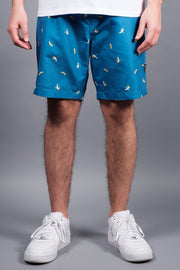 Blue Banana Print Volley Shorts