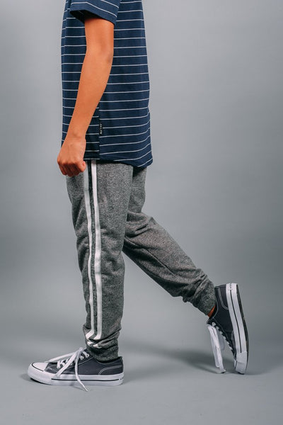 Boys Black Marl Varsity Jogger Pants