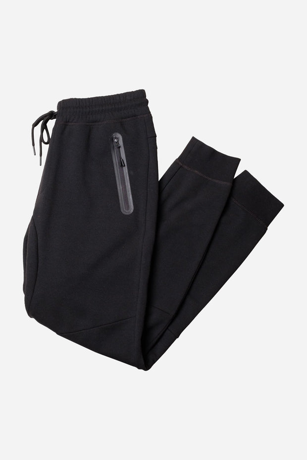 Black Nylon Zip Pocket Fleece Jogger Pants