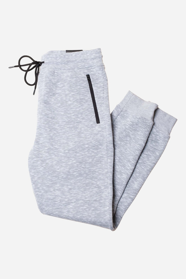 Light Grey Speckled Streaky Fleece Jogger Pants