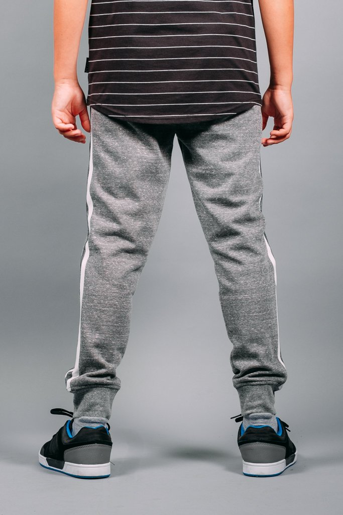 Boys' Grey Snow Varsity Stripe Jogger Pants
