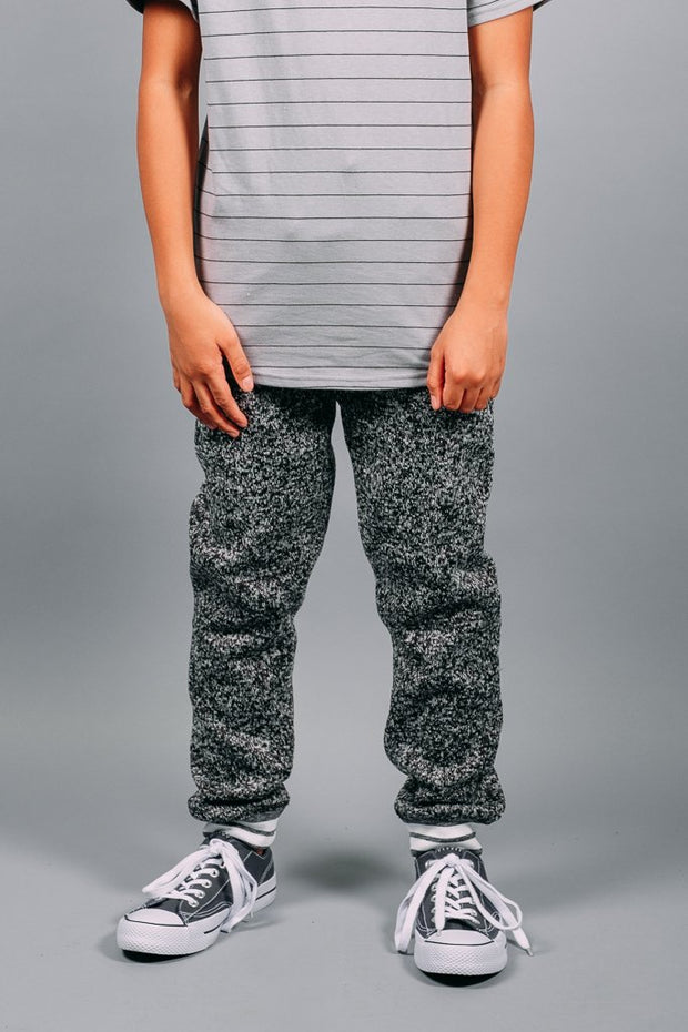 Boys Black Cozy Knit Joggers