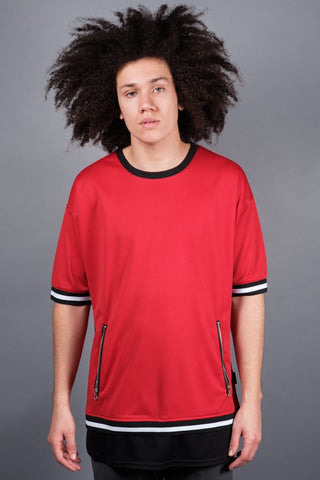 Red Double Layer Mesh Tee