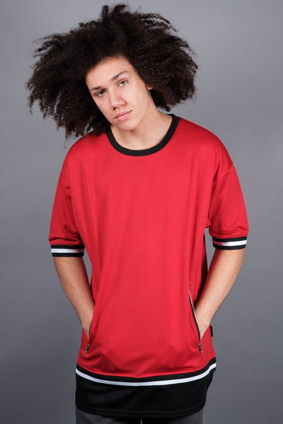 Red Double Layer Mesh Tee for men