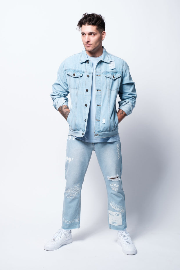 Stone Wash Distressed Denim Jacket