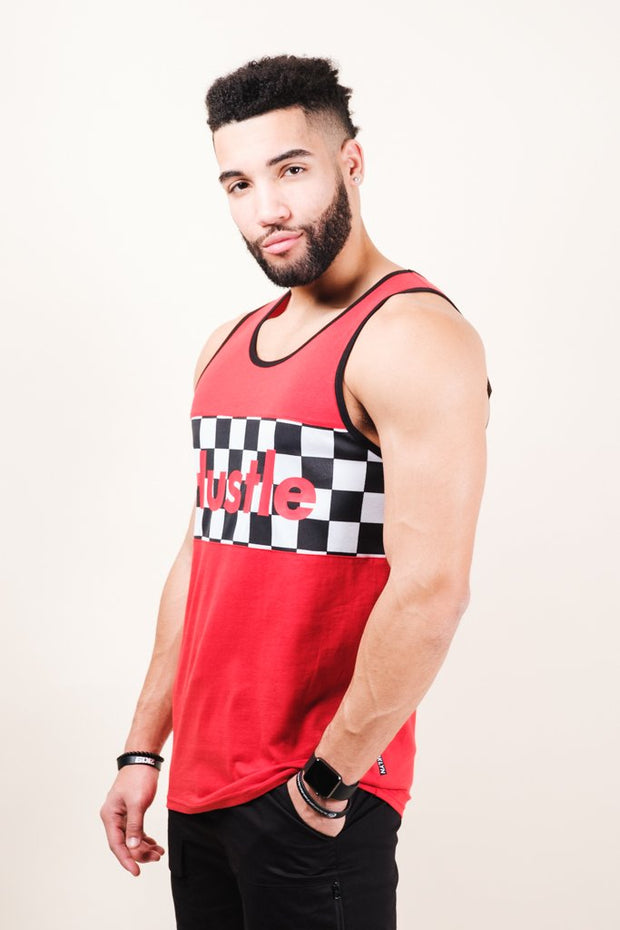 Mens Red Hustle Tank Top