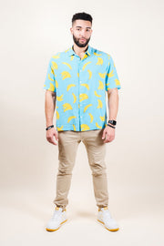Brooklyn Cloth Light Blue Banana Print Woven Shirt for Men
