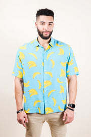 Light Blue Banana Print Woven Shirt for Men