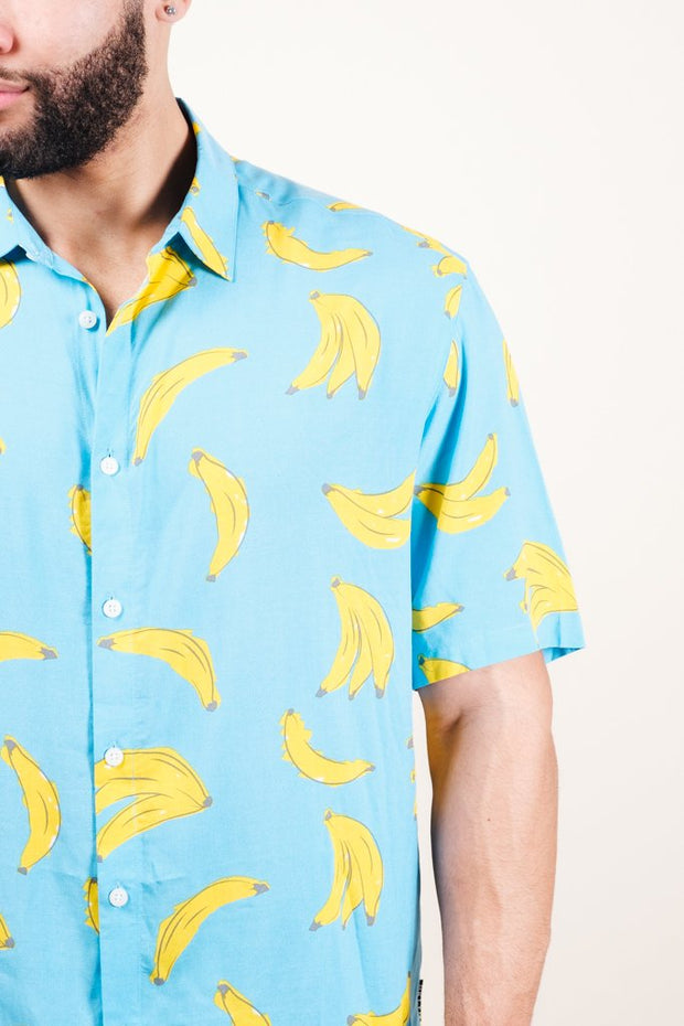Light Blue Banana Print Woven Shirt