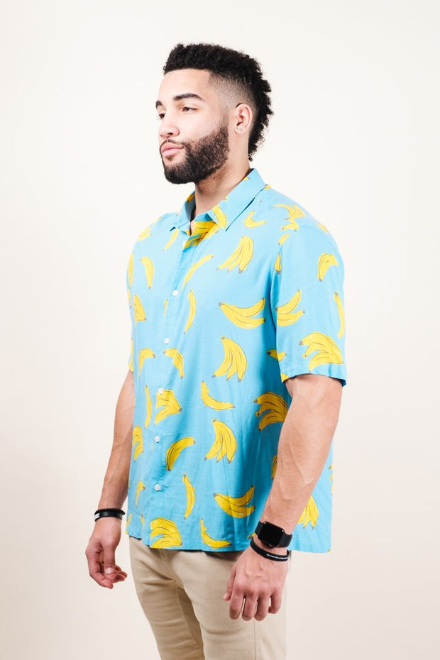 Men's Light Blue Banana Print Woven Shirt
