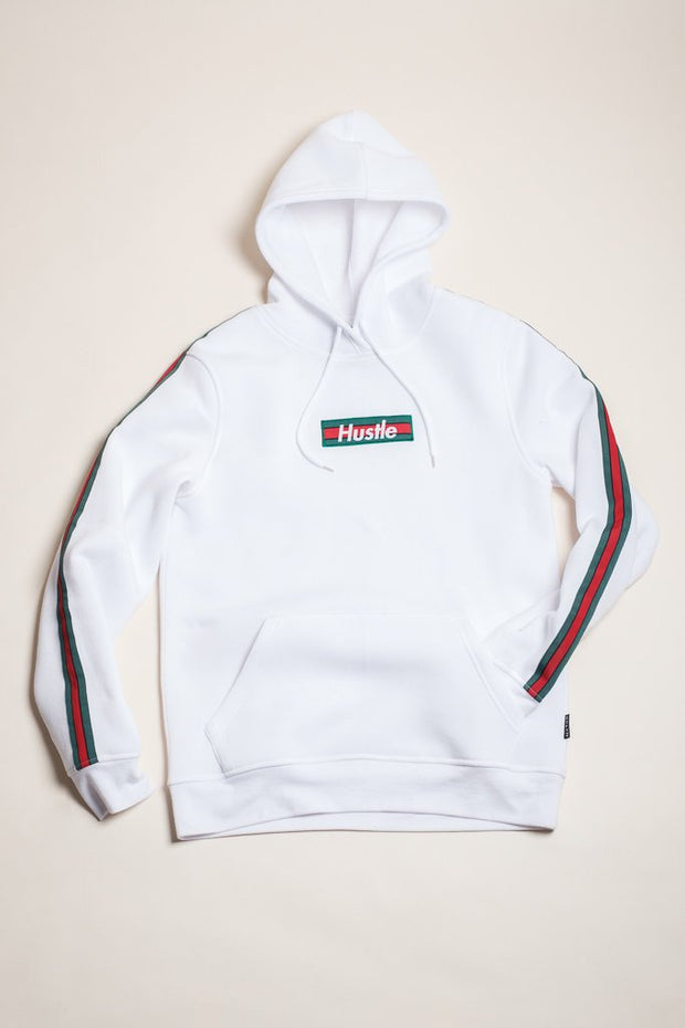 White Hustle Hoodie at Brooklyn Cloth