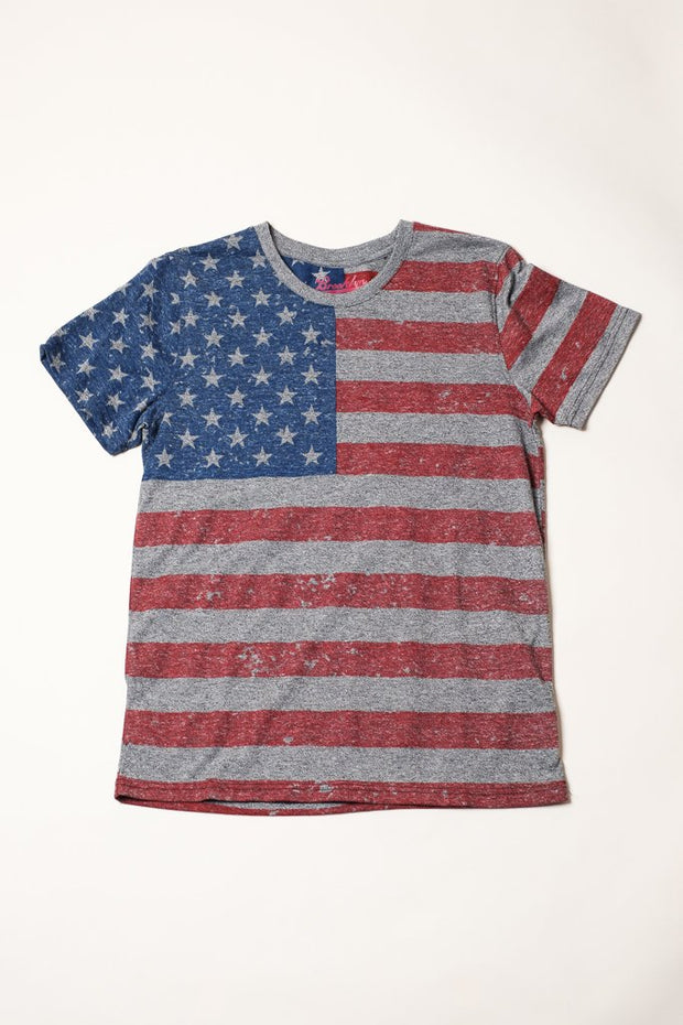 Boys Black Marl American Flag Tee