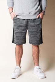 Black Side Stripe Fleece Shorts for Men