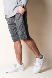 Black Side Stripe Fleece Shorts
