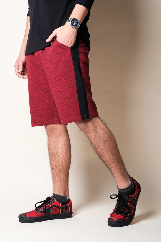 Burgundy Side Stripe Fleece Shorts