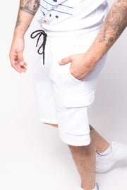 White Fleece Cargo Shorts
