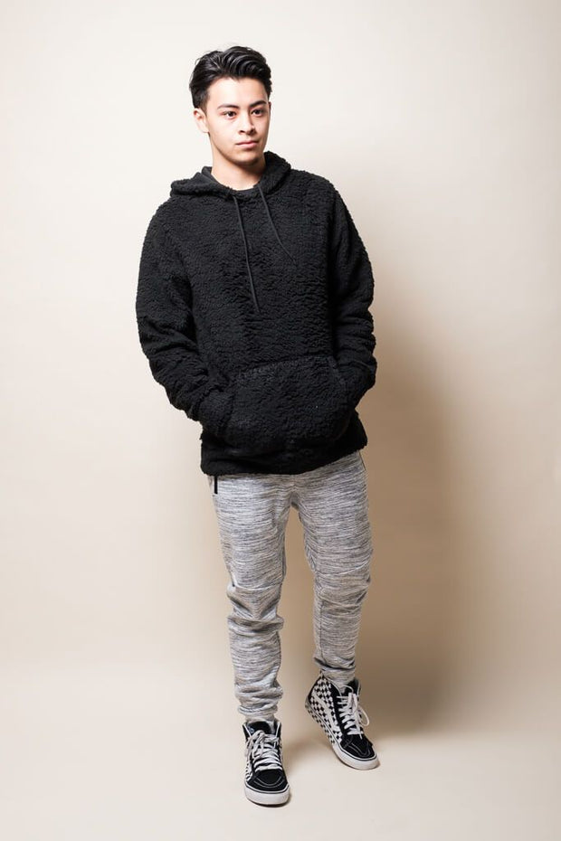 Brooklyn Cloth Black Sherpa Pullover Hoodie for Men