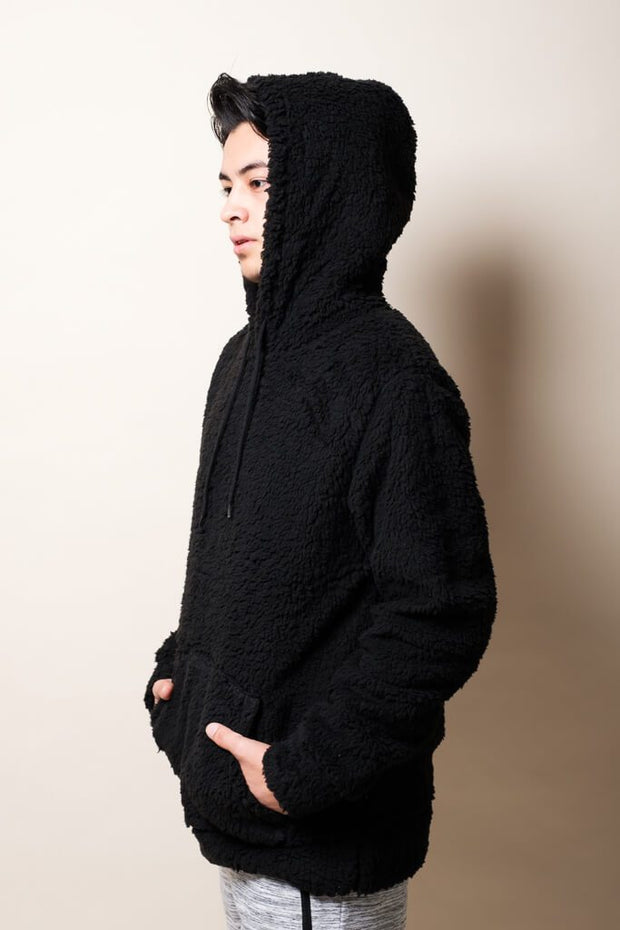 Black Sherpa Pullover Hoodie for Men