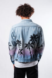 Palm Tree Print Denim Jacket