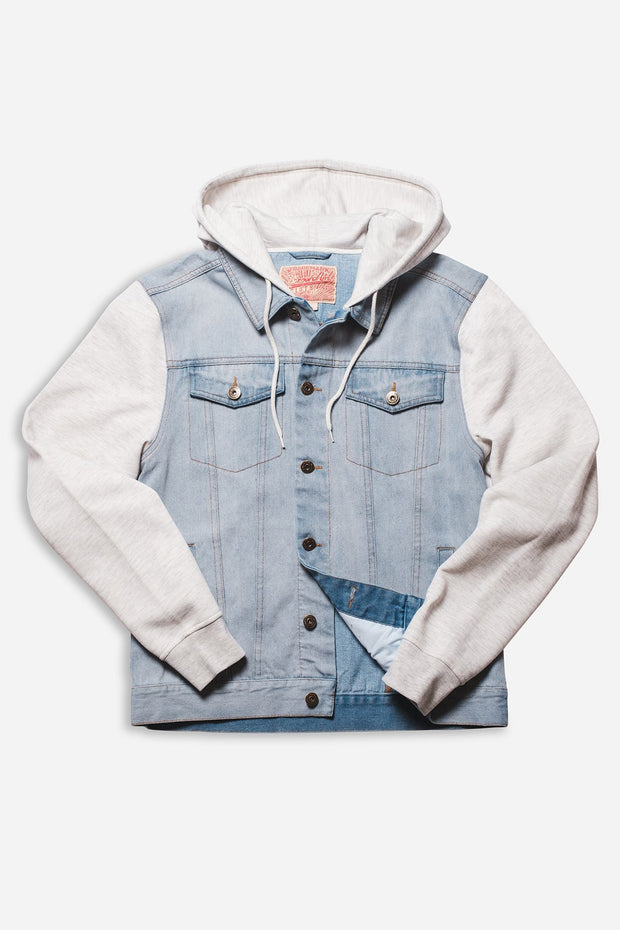Light Wash Knit Sleeve Denim Jacket