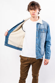 Blue Sherpa Lined Denim Jacket