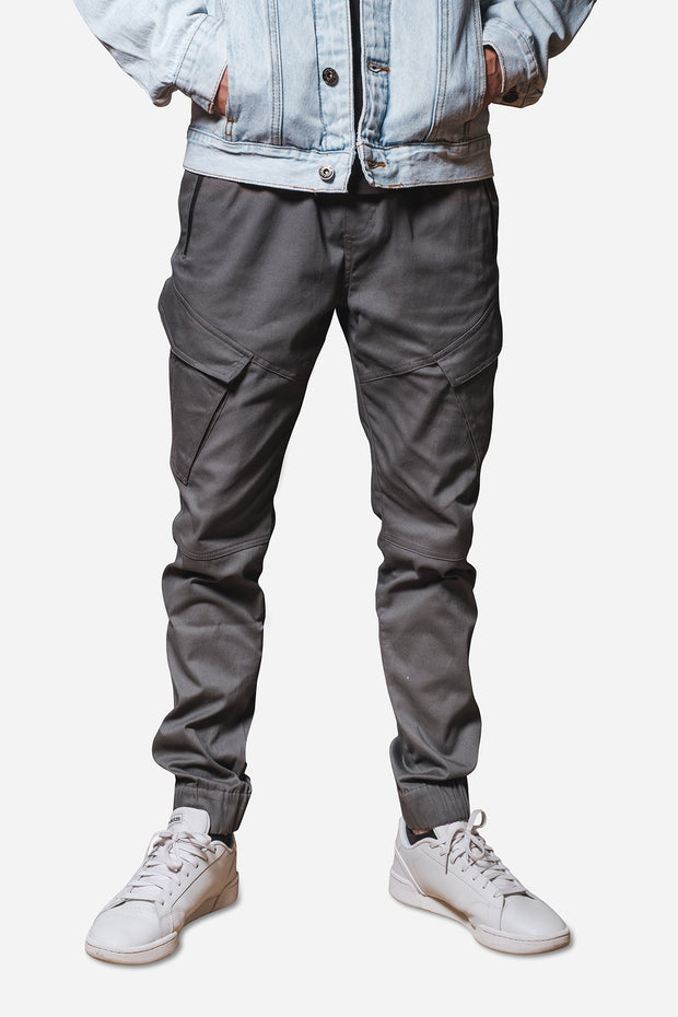 Charcoal Grey Cargo Pocket Twill Jogger Pants