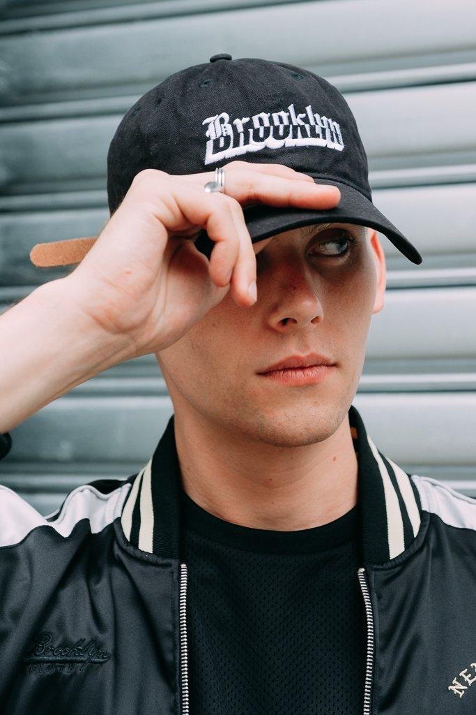 "Brooklyn Cloth ""Dad Hat"" Gothic Font Baseball Cap in Black"