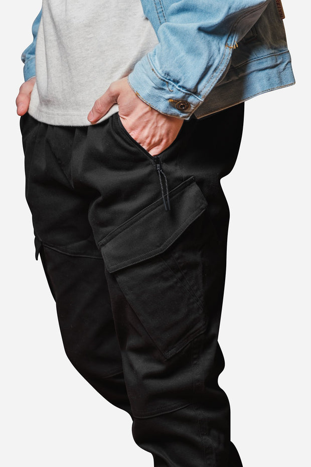 Black Cargo Pocket Twill Jogger Pants