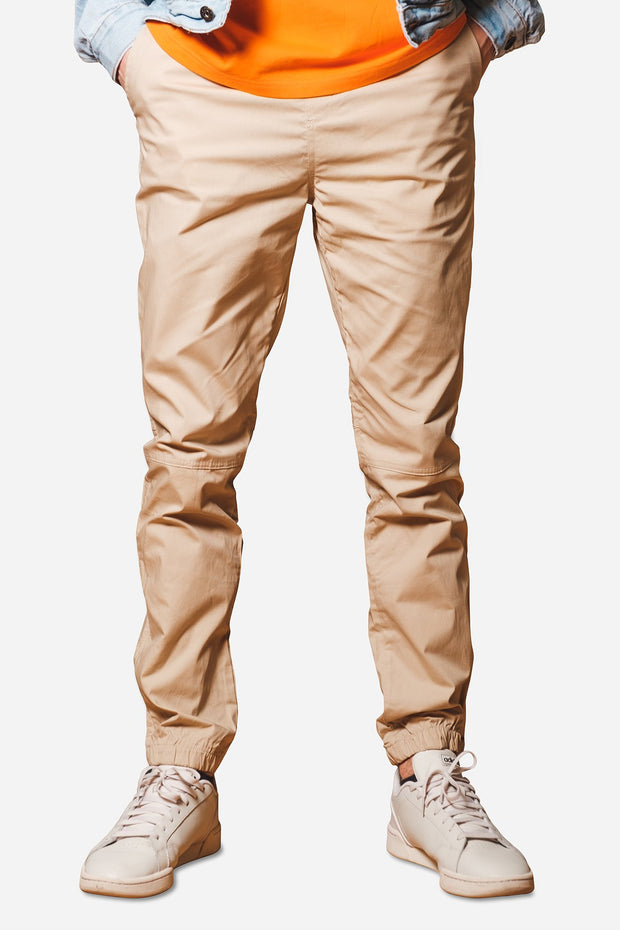 Khaki Poplin Zip Pocket Jogger Pants