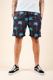 Men's Black Palm Tree Swim Trunks
