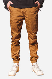 Tobacco Poplin Side Zipper Pocket Jogger Pants
