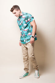 Brooklyn Cloth Turquoise Flamingo Woven Shirt for Men