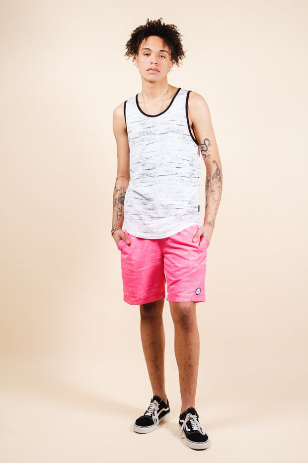 Brooklyn Cloth Pink Streaky Swim Trunks for Men