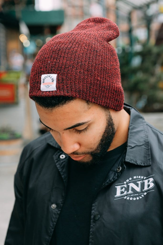 Burgundy beanie from Brooklyn Cloth