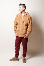 Men's Brooklyn Cloth Brown Vibes Sherpa Quarter Zip Hoodie