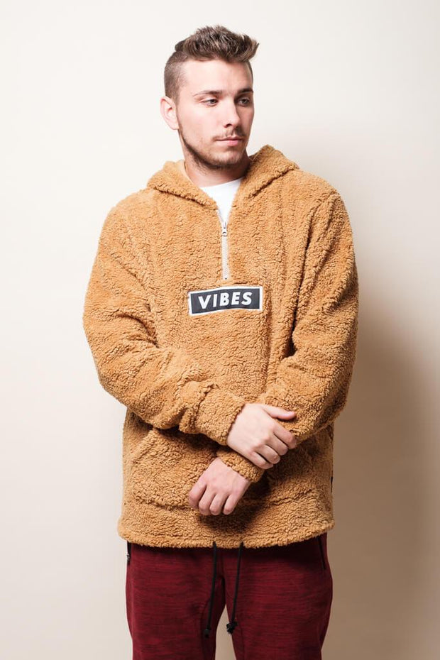Brown Vibes Sherpa Quarter Zip Hoodie for Men
