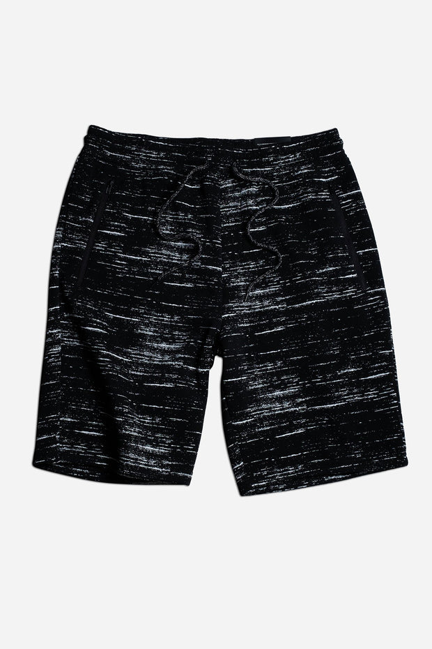 Black Streaky Print Zip Pocket Shorts