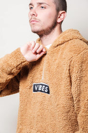 Men's Brown Vibes Sherpa Quarter Zip Hoodie