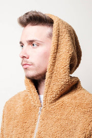 Brooklyn Cloth Brown Vibes Sherpa Quarter Zip Hoodie