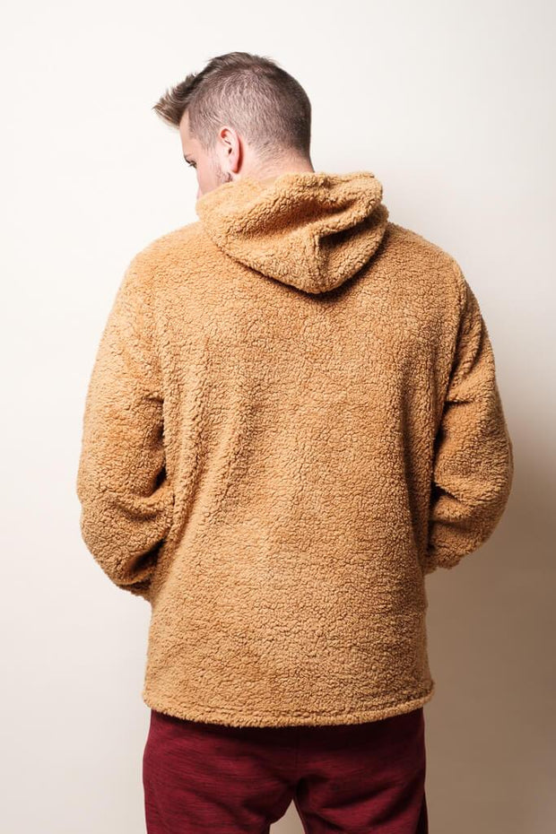 Brooklyn Cloth Men's Brown Vibes Sherpa Quarter Zip Hoodie