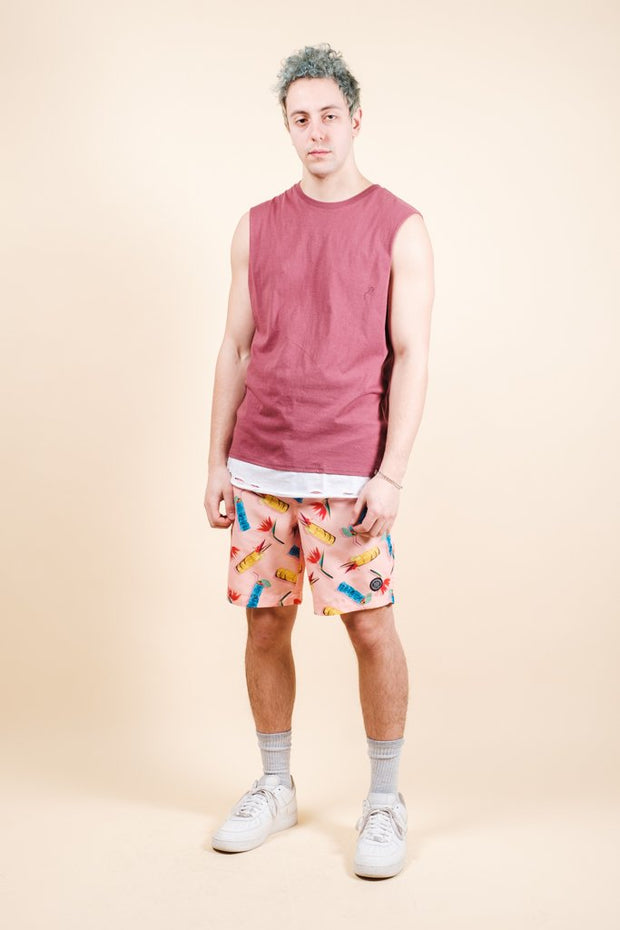 Brooklyn Cloth Pink Tiki Drink Swim Trunks for Men