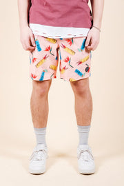 Pink Tiki Swim Trunks