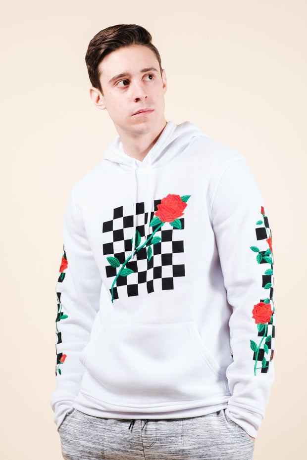 White Rose Checkered Hoodie for Men