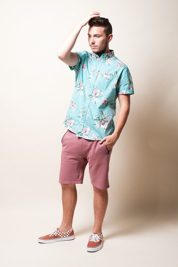 Brooklyn Cloth Mint Floral Woven Shirt for Men
