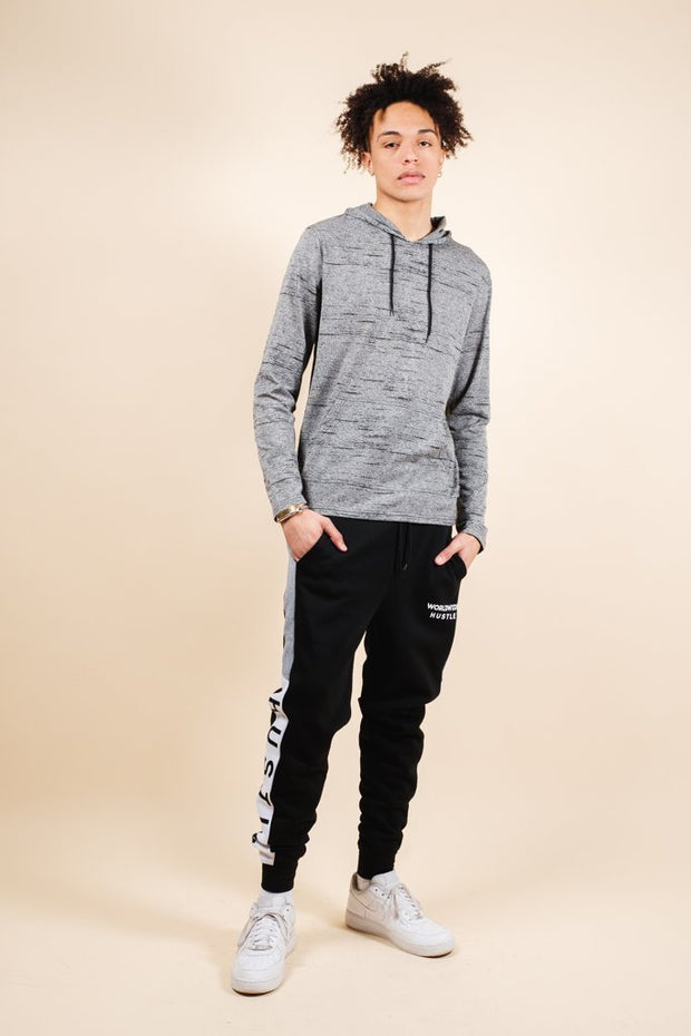 Brooklyn Cloth Black Marl Streaky Jersey Hoodie for Men