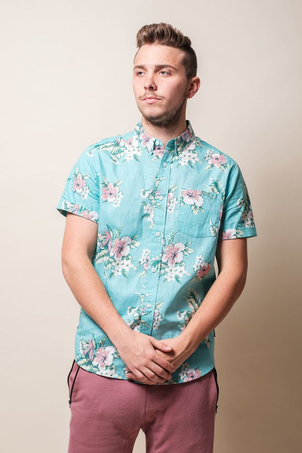 Mint Floral Woven Shirt for Men