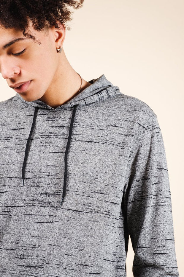 Black Marl Streaky Jersey Hoodie for Men