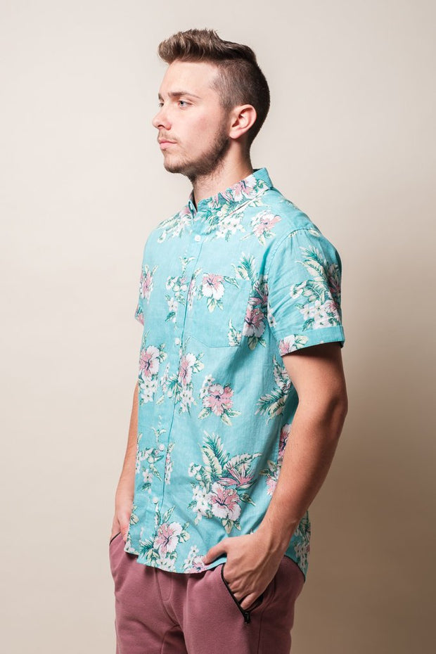 Men's Mint Floral Woven Shirt